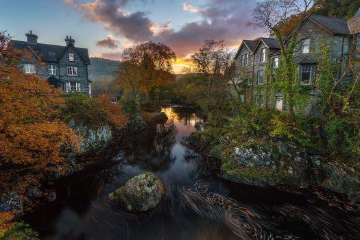 sunset, River, at home, trees, On Betsy KOED, United Kingdom, landscape