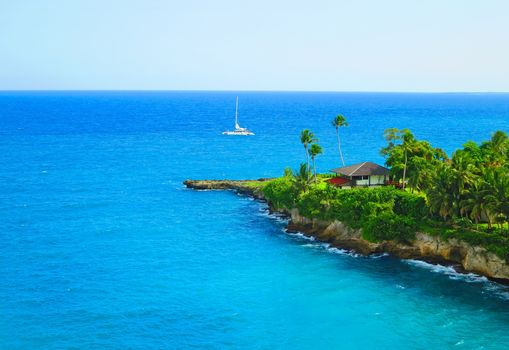 Dominican Republic, sea, Coast, palm trees, yacht, lodge, landscape