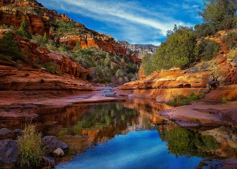 the mountains, rock, small river, trees, landscape, Arizona, Slide Rock State Park