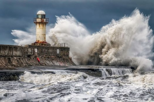 sea, lighthouse, storm, waves, spray, landscape