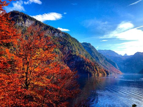 Lake Konigssee, Germany, the mountains, autumn, trees, landscape
