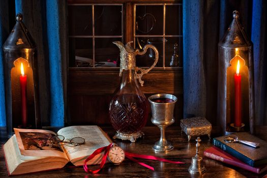books, decanter, wine, cup, pocket watch, Shakespeare, candles, Gothic, still life