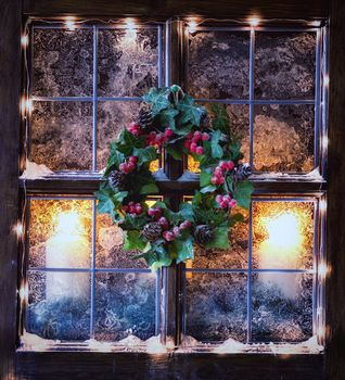 still life, Led lights, Garlands, Christmas, candles, wreath, frost, window