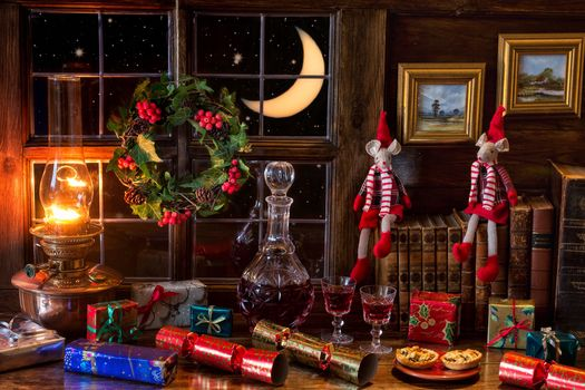 window, month, table, decanter, lamp, books, gifts, Christmas, still life