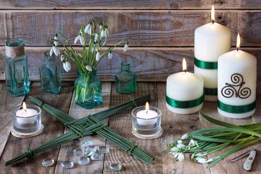 candles, flowers, Spring, Pagan, Druidry, Podsnezhniki, still life
