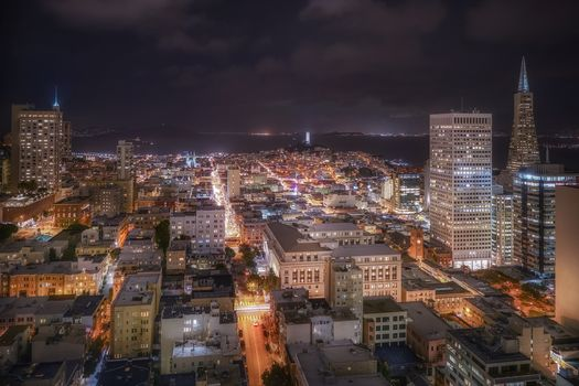 Los Angeles, USA, city, night, lights, horizon