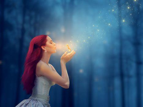 girl, beautiful girl, magic