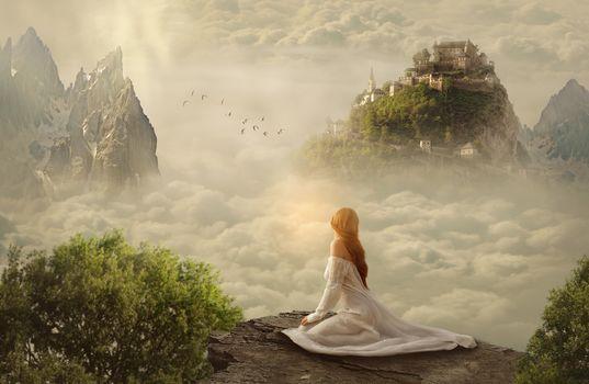girl, rock, clouds, Castle, art