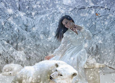 winter, snow, girl, bear, rabbit, fantasy