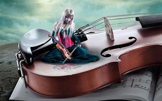 violin, girl violinist, art