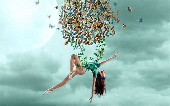 sky, girl, gymnast, butterfly