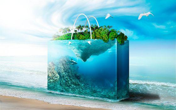 море, берег, аквариум, фантасмагория