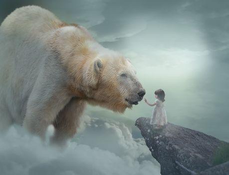 polar bear, polar bear, girl, child, art