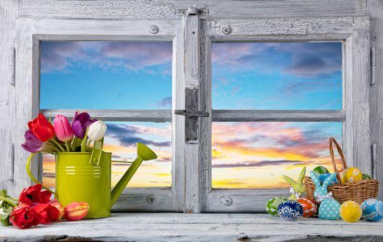 весна, окно, рама, Пасха, пасхальные яйца, тюльпаны, с праздником пасхи