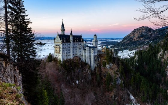 Neuschwanstein Castle, Neuschwanstein Castle, Germany, sunset, landscape
