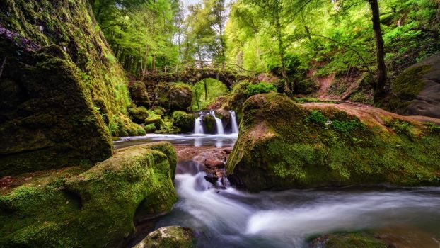 Müllerthal, Luxembourg, Switzerland, waterfall, River, bridge, trees, forest, landscape