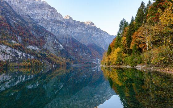 lake, the mountains, autumn, trees, landscape