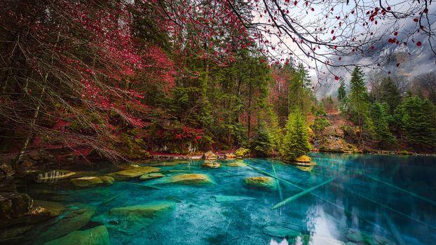 lake, Kanderşteg, Switzerland, autumn, trees, landscape