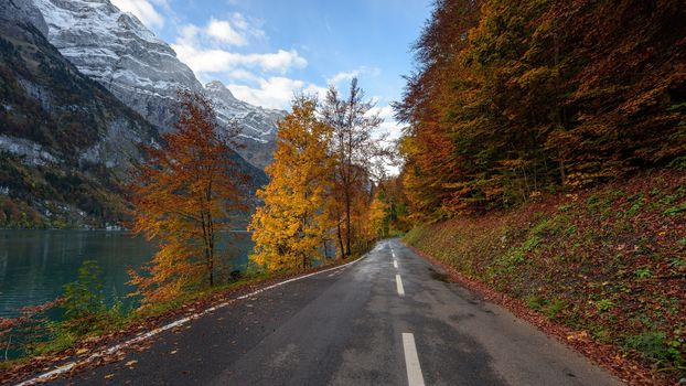 The Saxon, Switzerland, autumn, the mountains, road, lake, landscape