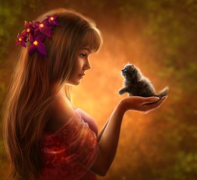 girl, kitten, art