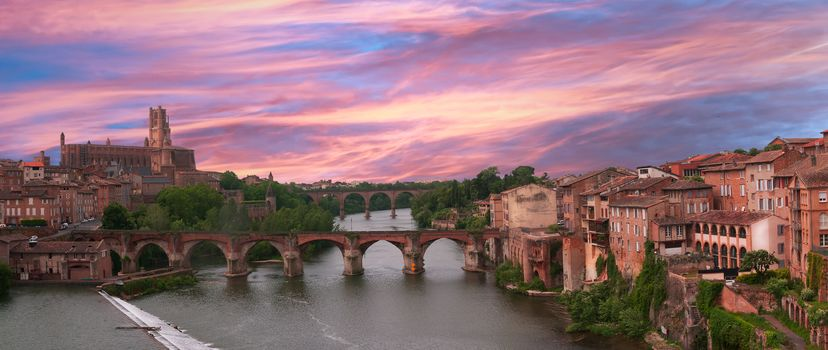 city, France, Alba, River, bridge, Cathedral, sunset, view
