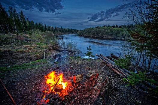 sunset, River, bonfire, forest, trees, landscape