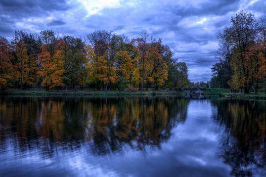 lake, autumn, bridge, trees, landscape
