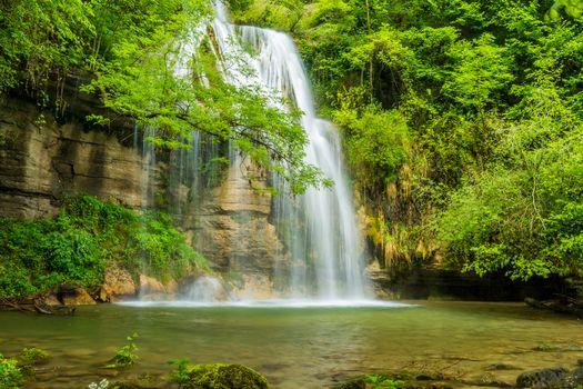 водопад, водоём, скалы, деревья, природа