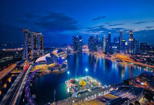 Singapore, Singapore, city, poch, lights, illyuminatsiya, Southeast Asia