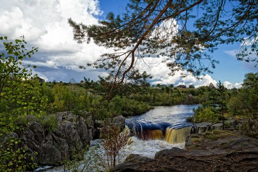 Russia, region Karelia, waterfall