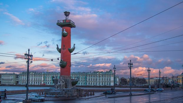 The Rostral Column and the State Hermitage, St. Petersburg