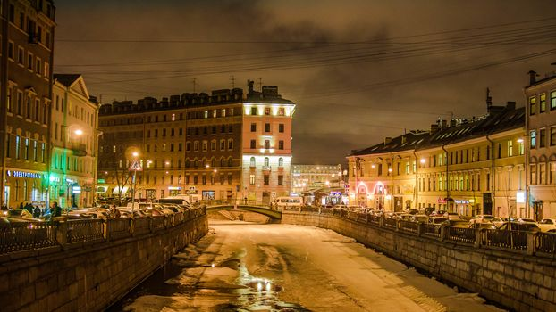 St. Petersburg city lights Griboyedov Canal Winter Russia
