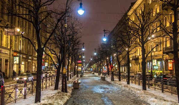 St. Petersburg city lights Winter Rain Big Stables Street Stagnant Thaw