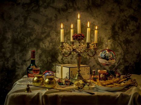 still life, table, candles, Subjects
