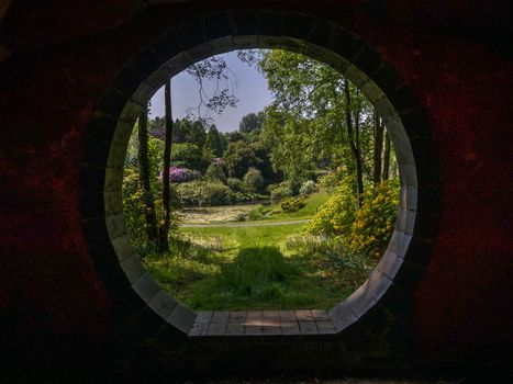 window, Aperture, arch, water, garden, park, trees, landscape