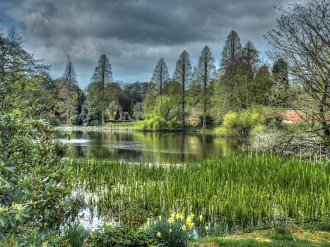 Weston park, England, water, park, trees, landscape