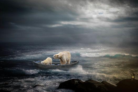 sea, storm, a boat, the Bears, photoshop