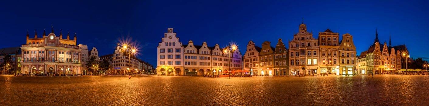 Mecklenburg-Western Pomerania, Germany, Hall, night, Street lights, view