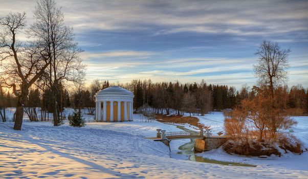 Pavlovsk park, Pavlovsk, Russia, winter, sunset, landscape