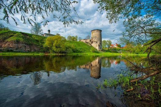 Pskov, Russia, River, trees, church, landscape