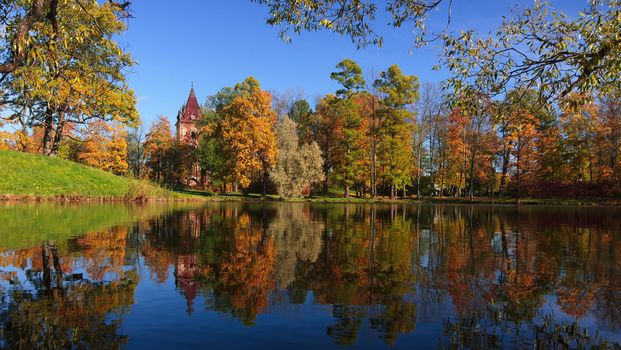 Russia, Pushkin, autumn, lake, trees, landscape
