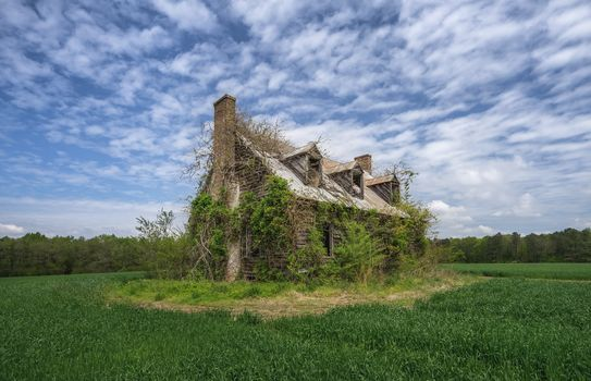 field, an old house, ruin, landscape