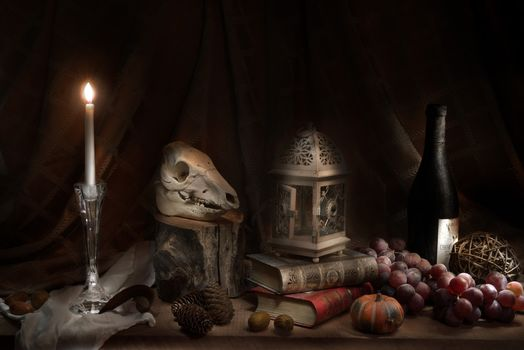 still life, table, Subjects, nuts, candles, grapes