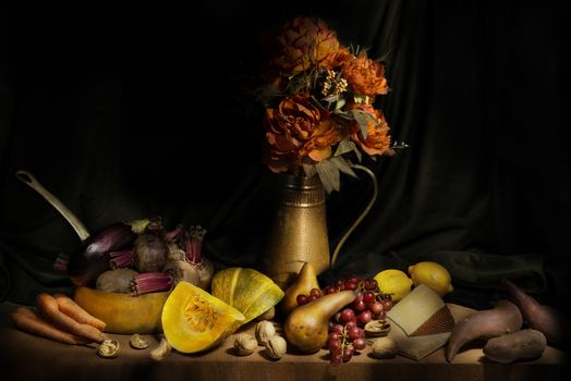 still life, table, Subjects, fruit, vegetables, food