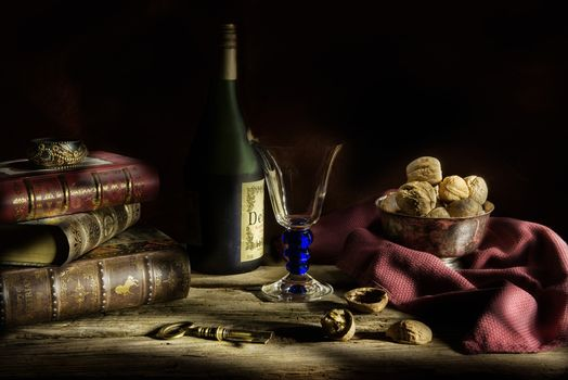 still life, table, Subjects, nuts, books, wineglass