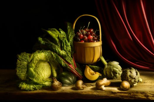 still life, table, Subjects, cabbage, mushrooms, merry