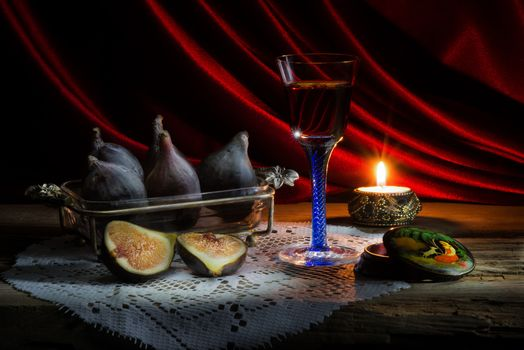 still life, table, Subjects, wineglass, candle, fruit