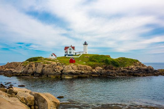 Cape Neddick Lighthouse, Lighthouse in Cape Nedik, Maine, sea, rock, landscape