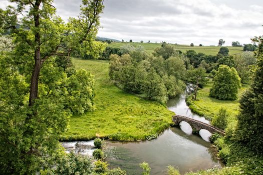 Wales, England, Rekha Uai, Haddon Hall, River, fields, hills, bridge, trees, landscape