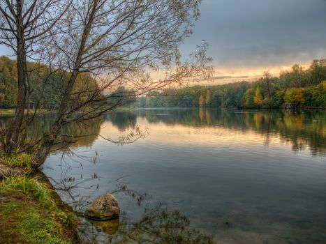 Kuzminki Park, Moscow, Russia, sunset, water, landscape